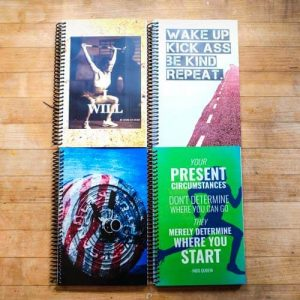 green custom fitness Journal on a table - your present circumstances