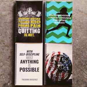 custom wod journal with anything is possible quote on the front