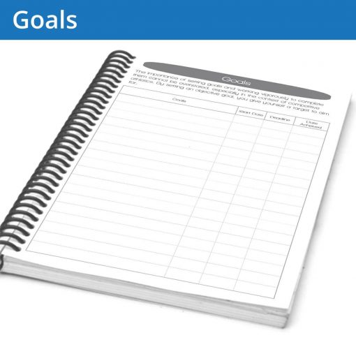 Keep track of your fitness journal goals and note when you start, stop and finish them