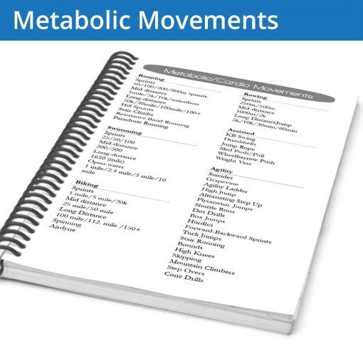 The fitness journal metabolic movements page gives you a library of movements to fill out your workout variety