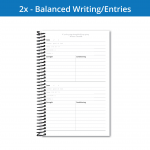 The Fitness Journal 2x workout page has a balanced amount of writing space and workout entries