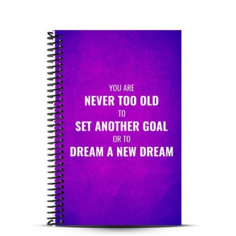 purple and pink fitness journal cover with never too old quote