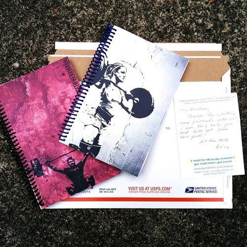 fitness journal with thank you note and expedited shipping
