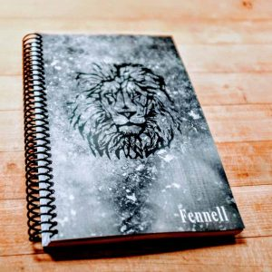 custom fitness journal with lion logo