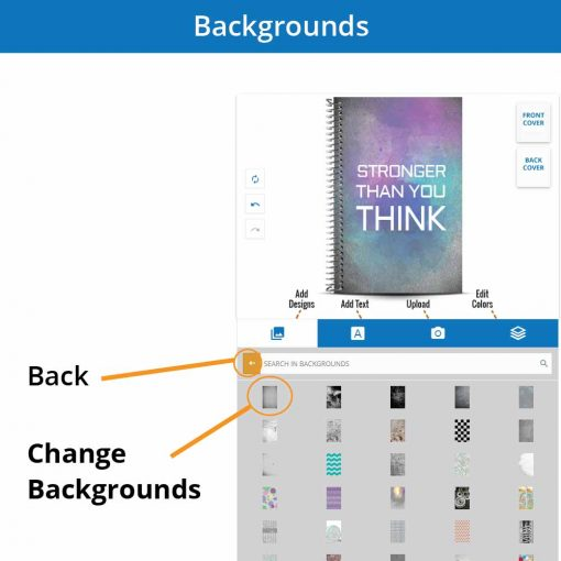 Choose the background of your personalized notebook