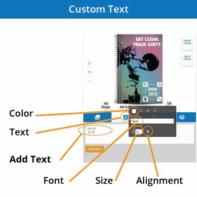 Add custom text on your personalized notebook