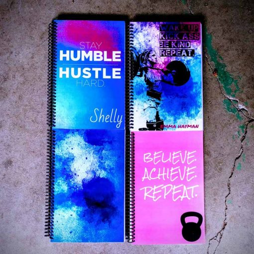 Pink and blue custom fitness journal for training