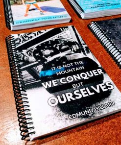 Sue it is not the mountain we conquer but ourselves custom fitness journal