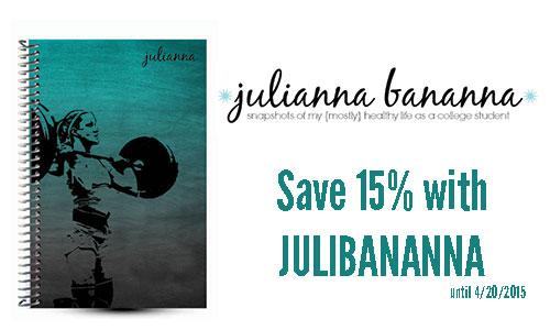 Julianna Bananna custom fitness journal and coupon