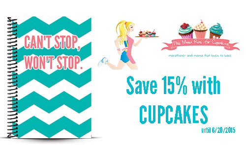 Lisa Runs for Cupcakes custom running journal and journal coupon