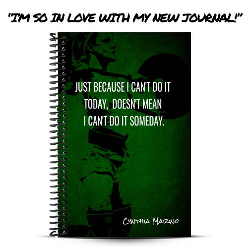 Cynthia's green and black custom fitness journal cover
