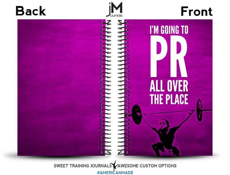 Salma's pink custom fitness journal