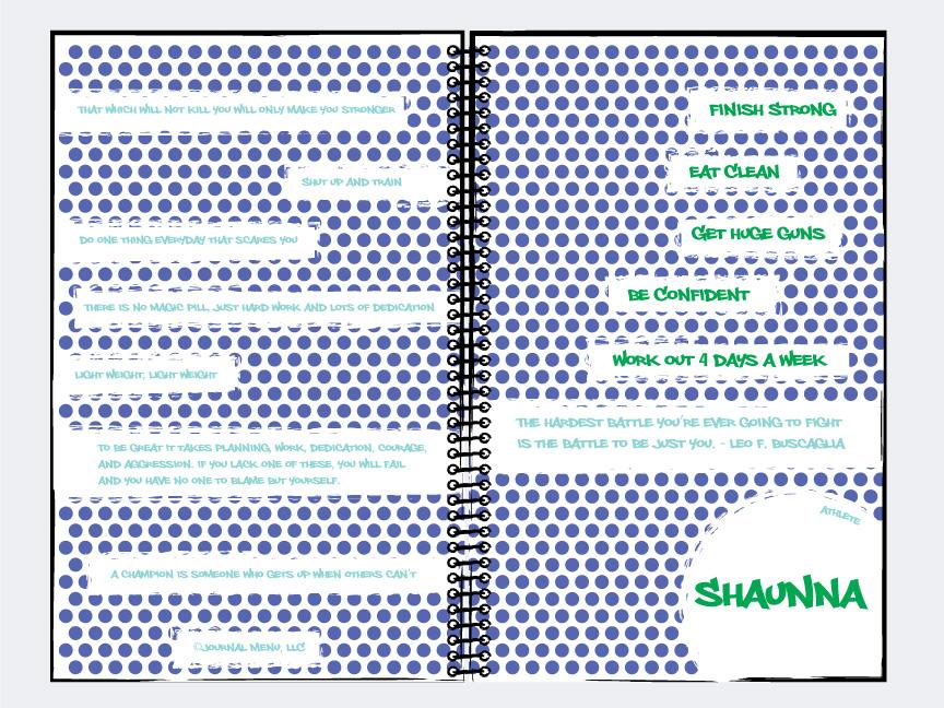 Shaunna's custom nutrition journal