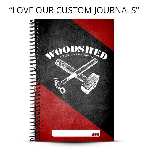 Red and Black custom fitness journals for Woodshed Fitness