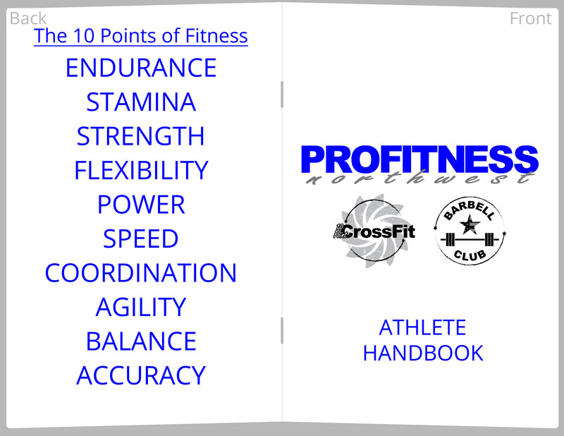 chad's and ProFitness Northwest and CrossFit Bellingham custom fitness handbook and journal