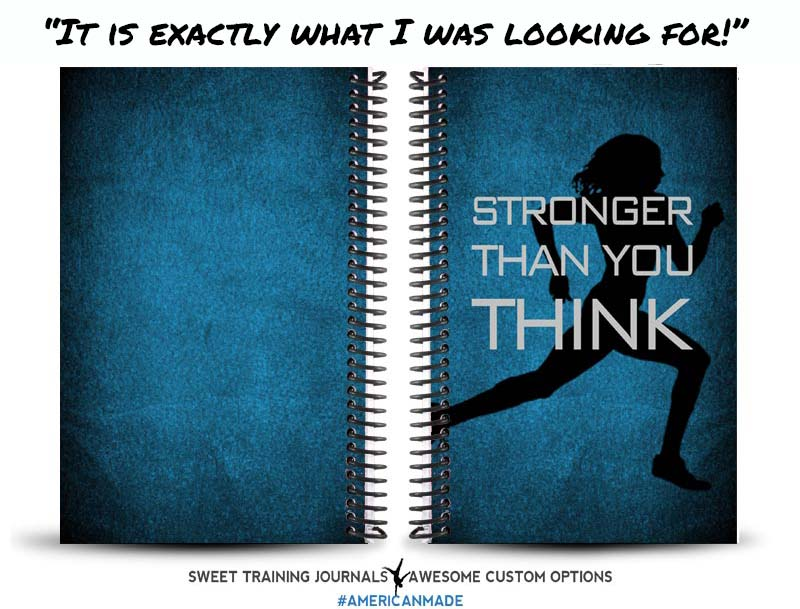 Carrie's perfect blue and black running journal with stronger than you think quote