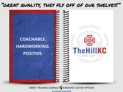 CrossFit Memorial Hill red, white and blue wod journals are great quality and fly off of the shelves