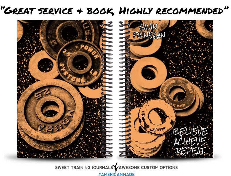 Gavin's orange and black custom fitness journal