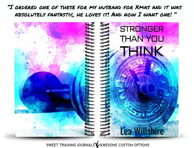 Leanne's blue, pink and white custom wod journal with barbell art