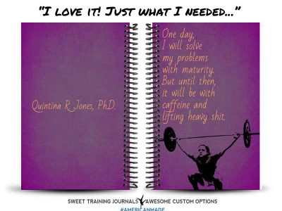 Quintana's purple and gold fitness journal with clipart