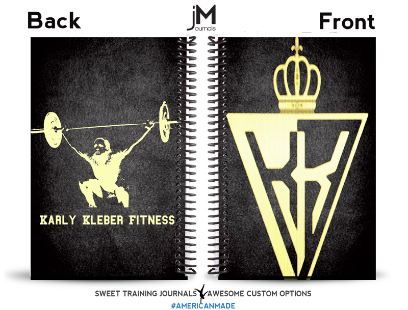 Carly's gold and black custom fitness journal
