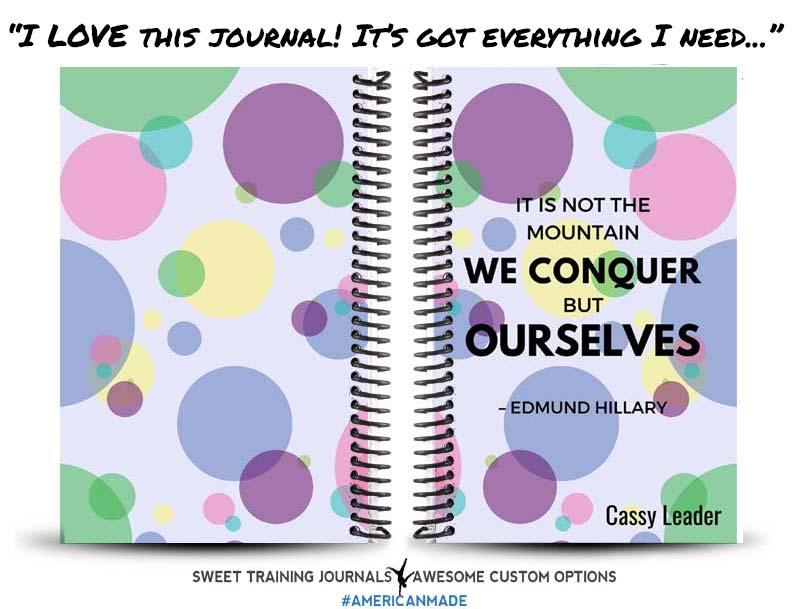 multi-colored custom wod journal that Cassy loves