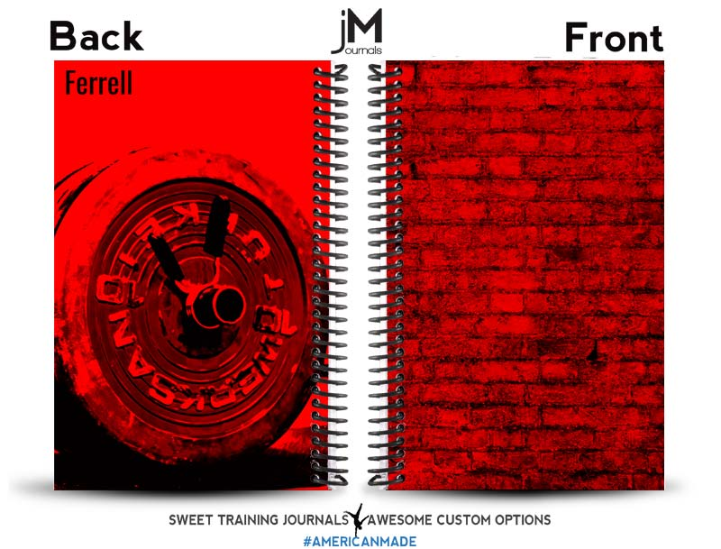 Chris's red and black custom wod journal with brick background
