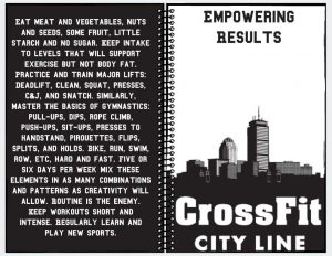 CrossFit City Line black and white journal with boston city scape and glassman's 100 words