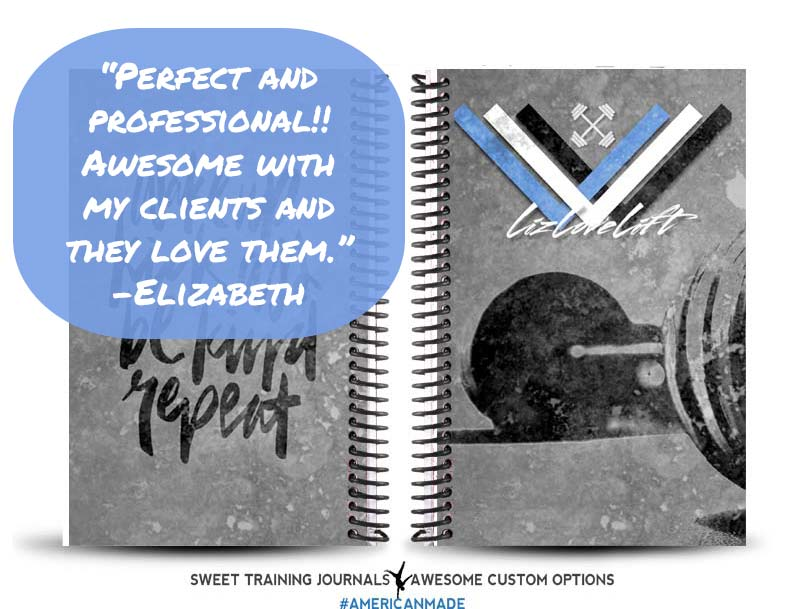 Elizabeth's blue, white and black custom weightlifting journal