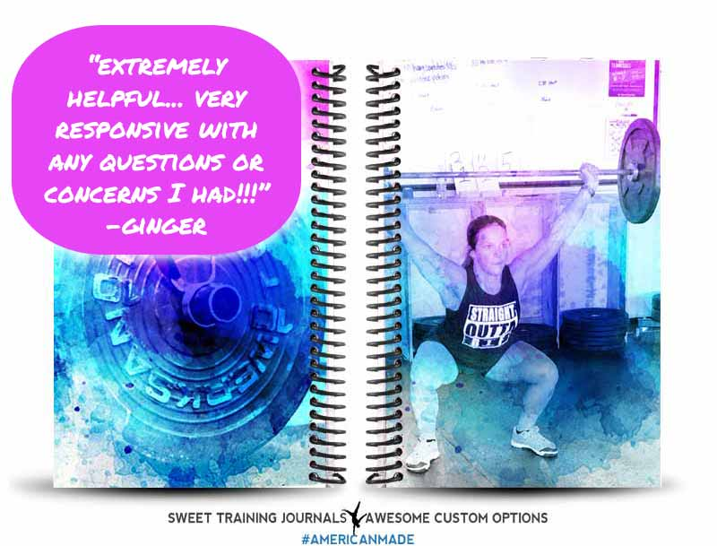 Ginger's highly personalized pink and blue fitness journal