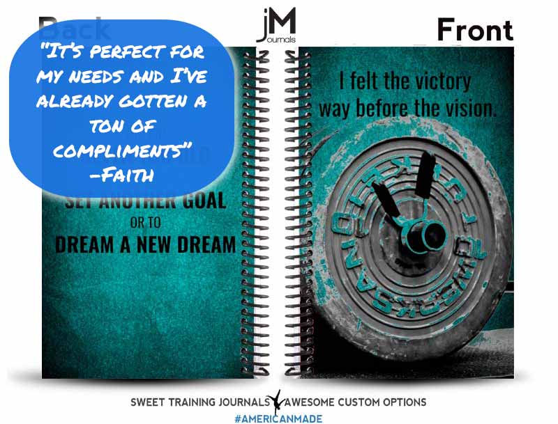 Testimonial for aqua and black weightlifting journal with barbell and custom text I felt the victory way before the vision