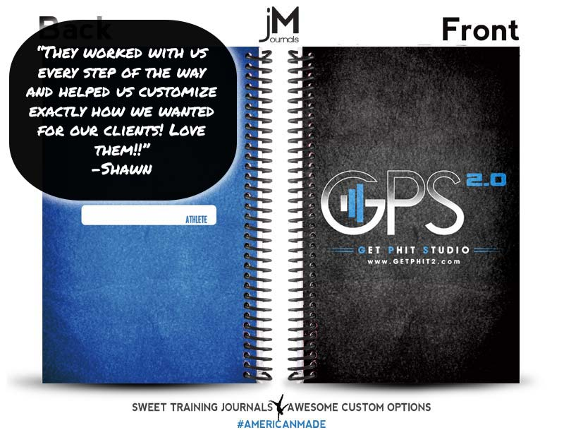 Get Phit Studio black and blue custom fitness journals