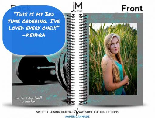 Testimonial for grey and teal custom image wod journal cover with Love you Always custom text