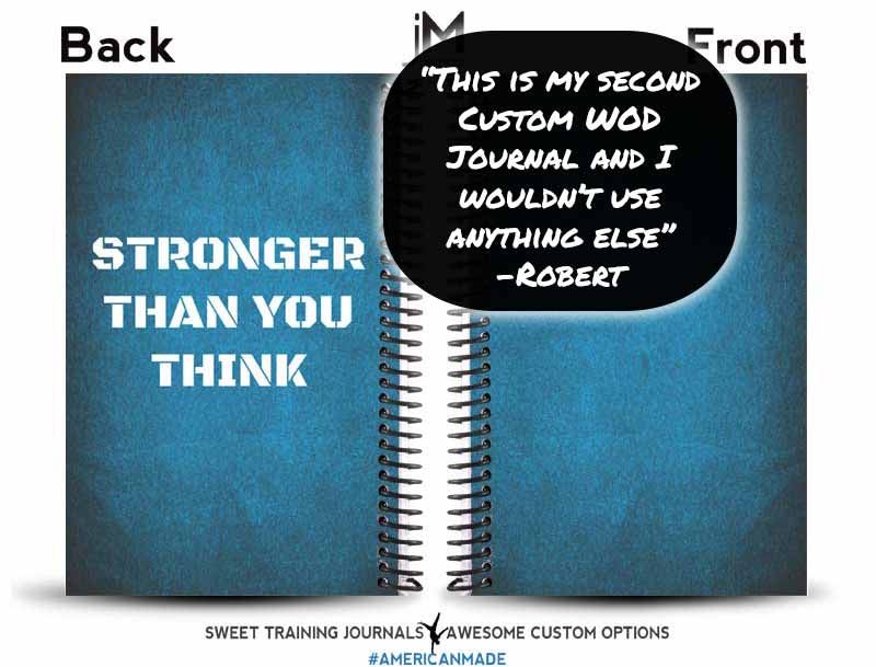 Testimonial for blue and white wod journal cover with stronger than you think words