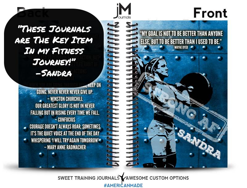 Sandra's blue and white custom fitness journal
