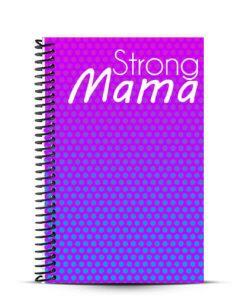 pink and purple strong mama workout journal front cover