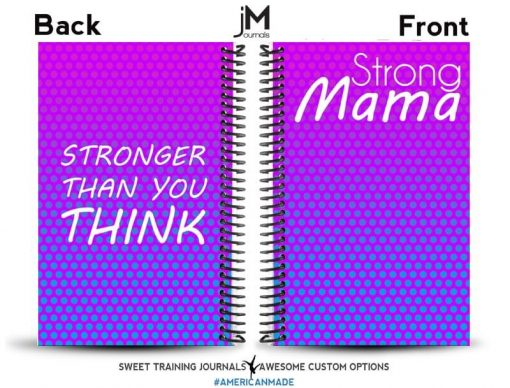 pink and purple strong mama workout journal front and back cover