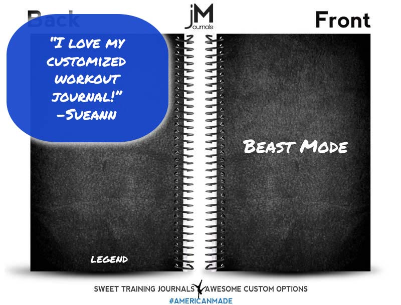 Sue's black and white customized workout journal