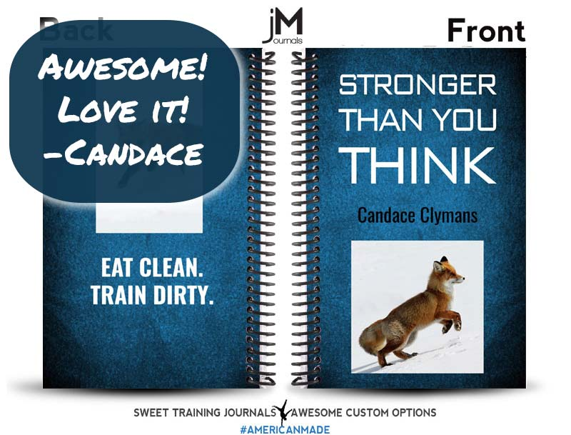 Image of Blue and black fitness journal with custom image of fox and positive review