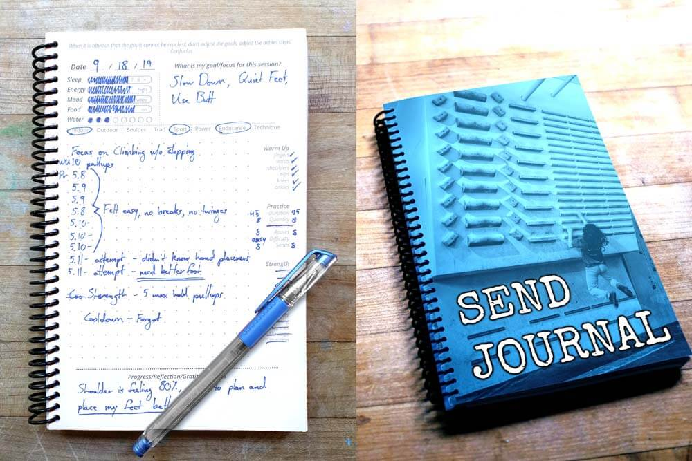 Blue Custom Fitness Journal Cover with workout page adjacent