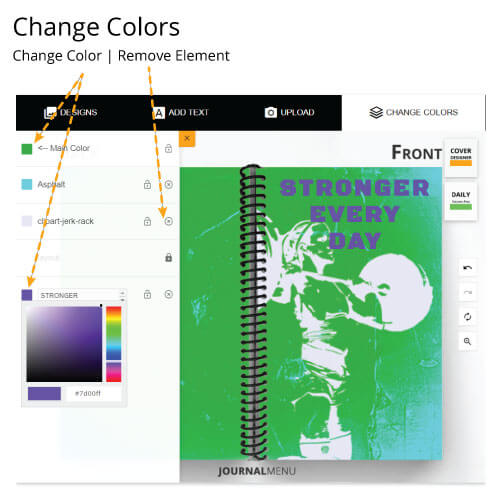Tutorial for how to change the colors of different elements of a journal