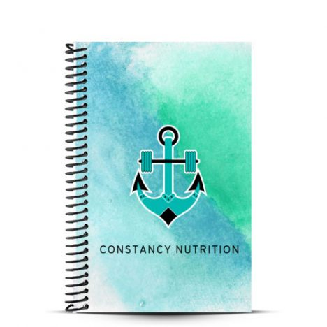 blue and green nutrition journal for Constancy Fitness