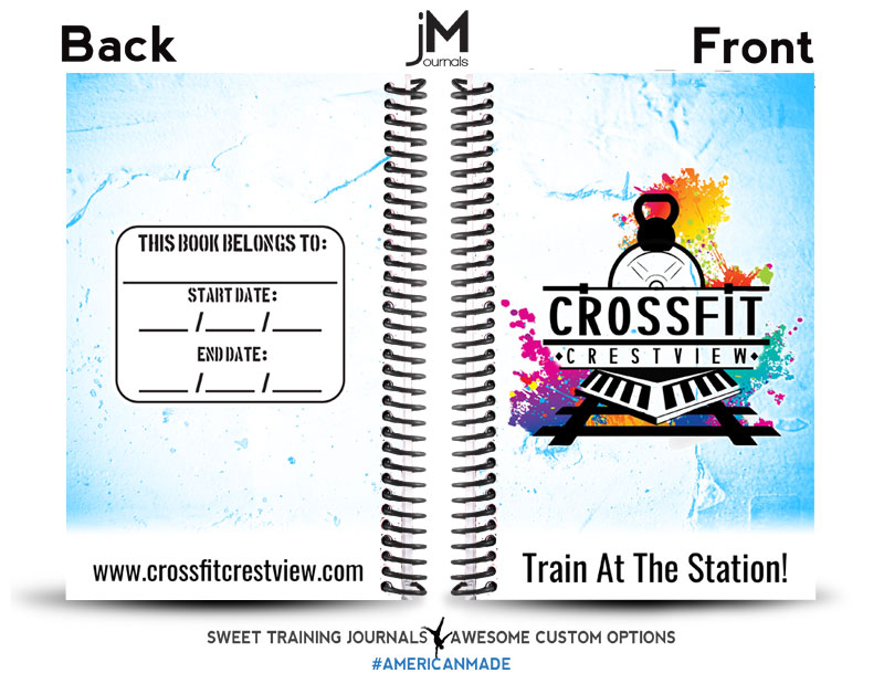 crossfit crestview blue and white journal with logo and name box