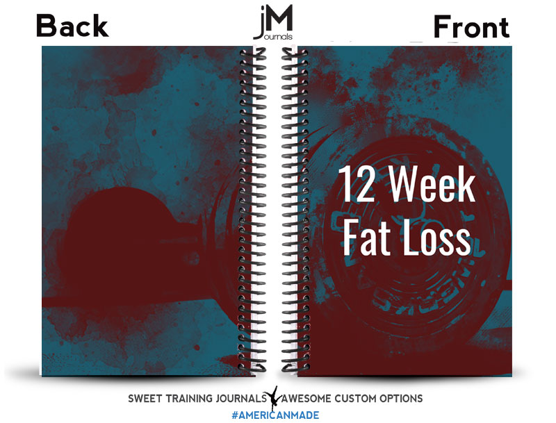 blue and white weight loss journal with white text