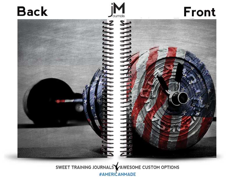red white and blue custom journal with barbell and flag