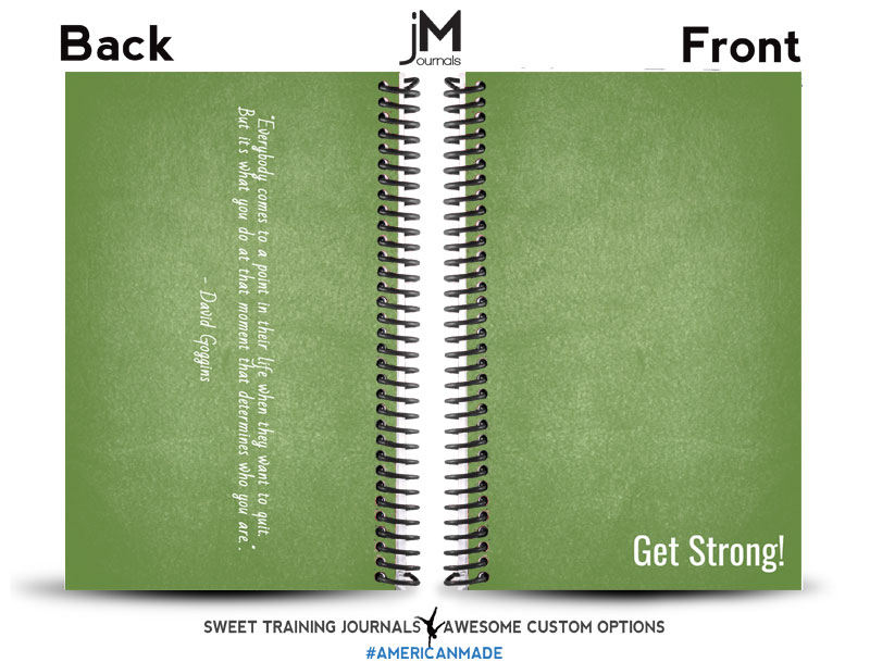 green custom weightlifting journal with white text