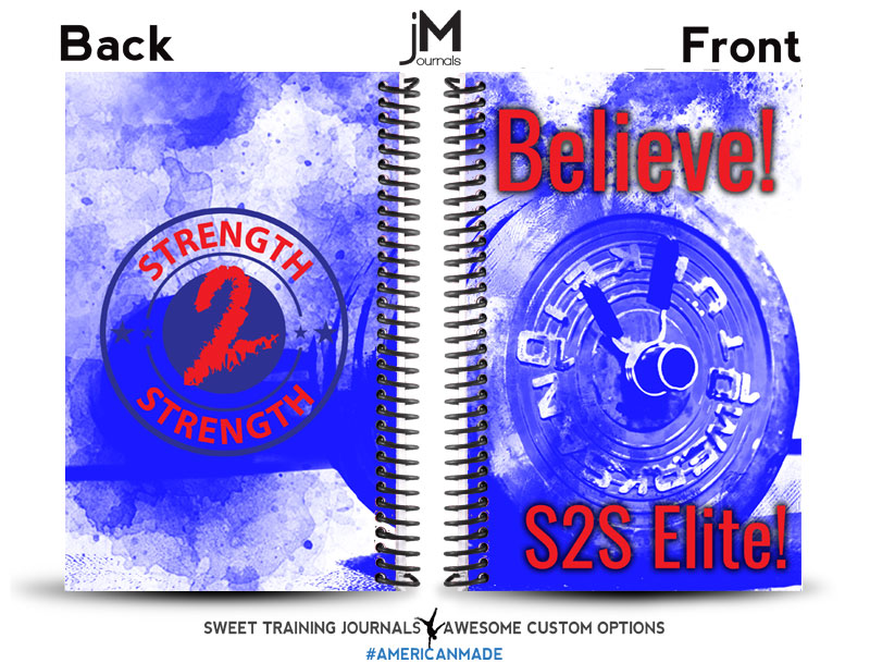 blue and white personal training journal for strength to strength gym