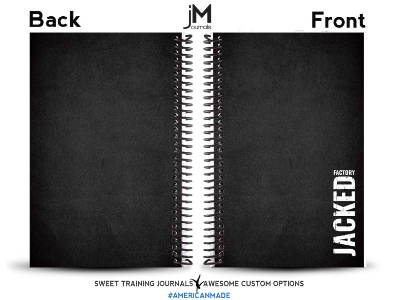 black and grey custom fitness journal with jacked factory logo