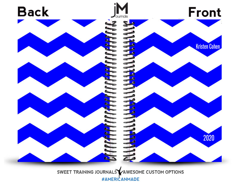 blue and white chevron wod journal with custom text 2020