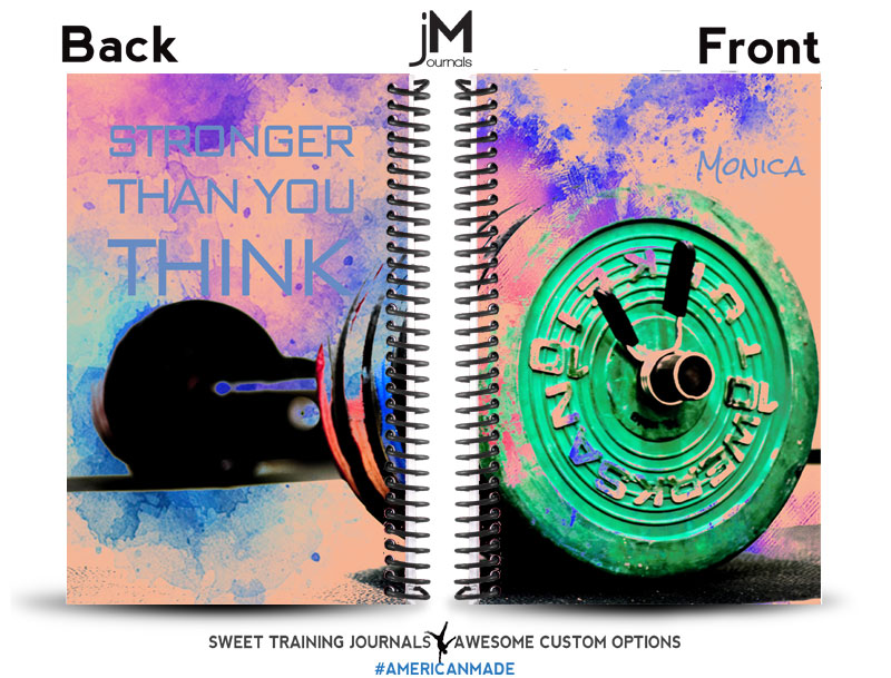 multi colored journal with barbell and blue text